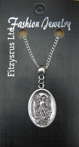"18"" 24"" Inch Chain Necklace & St Michael Guardian Angel Holy Saint Pendant Charm"